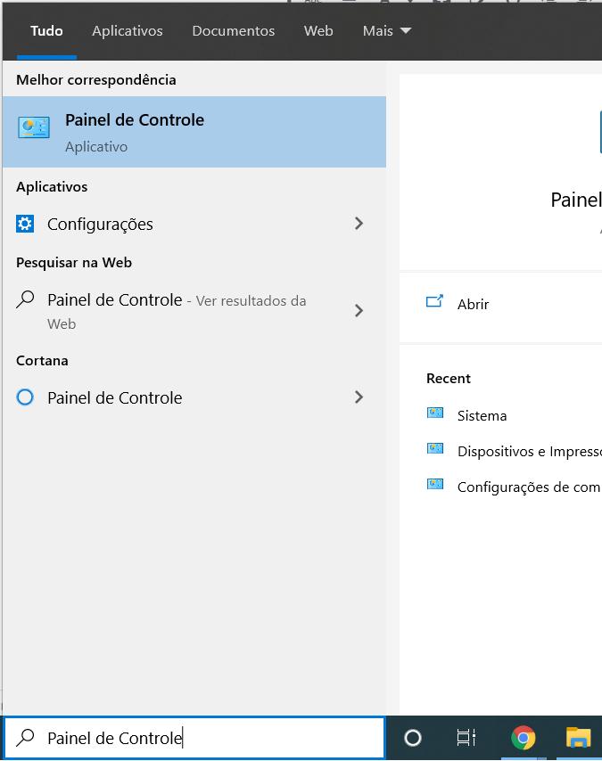 Abrindo o Painel de Controle do Windows 10