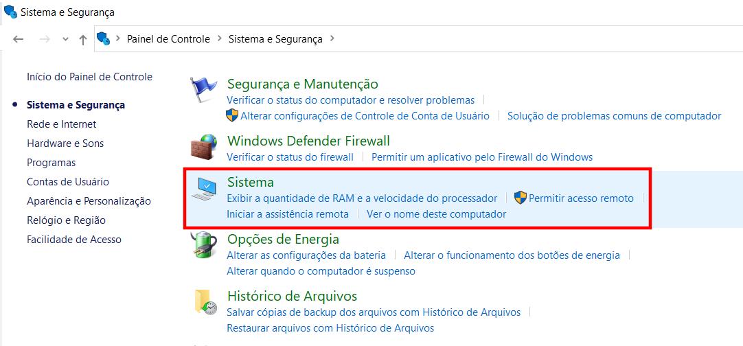Navegando até Sistema no Windows 10
