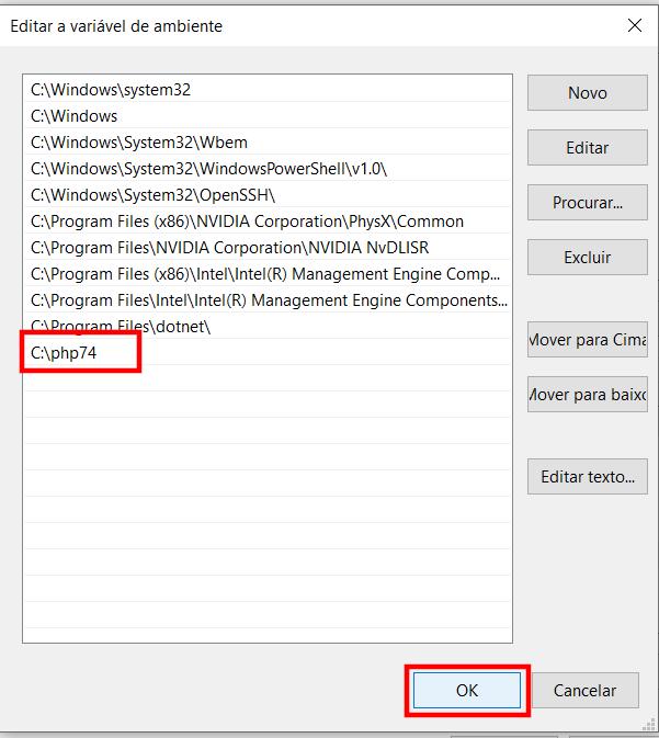 Editando a Variável de Ambiente Path do Windows 10 - Passo 2
