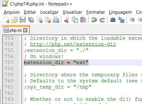 PHP 7.4 Extension Dir Configuração no Windows 10