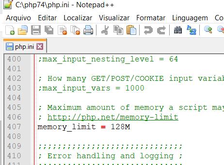 PHP Memory Limit 128M